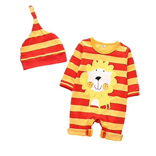 Livoral Neugeborenes Baby Overall + Hut Set,Baby Mädchen,Junge Cartoon Tier Overall gesetzt(A,12-18 Monate)