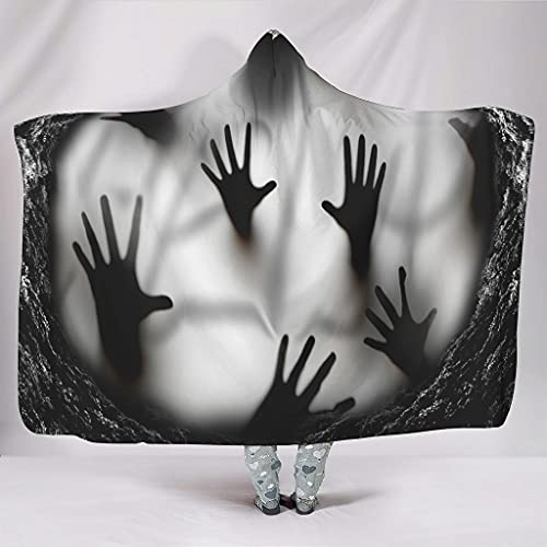 Hothotvery Hooded Blanket Scary Cave Hands Unisex Throw Cap for Most People White 130 x 150 cm