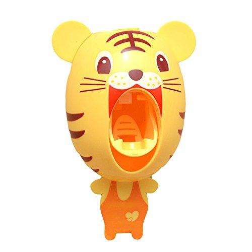 Dispensador de pasta de dientes automático, manos libres, con reloj digital, juego de accesorios para el baño, para niños y adultos tigre amarillo