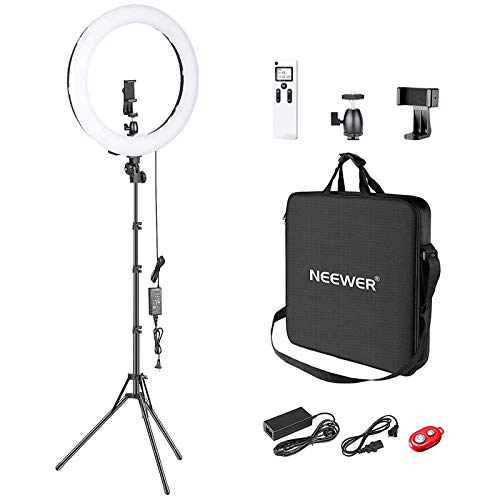 Neewer Kit de LED Aro Luz Regulable de 18 Pulgadas Diámetro Exterior y de 1.8cm Ancho Super Fino con Soporte de Luz, Clip de Celular, Adaptador de Zapata para Retrato Maquillaje...