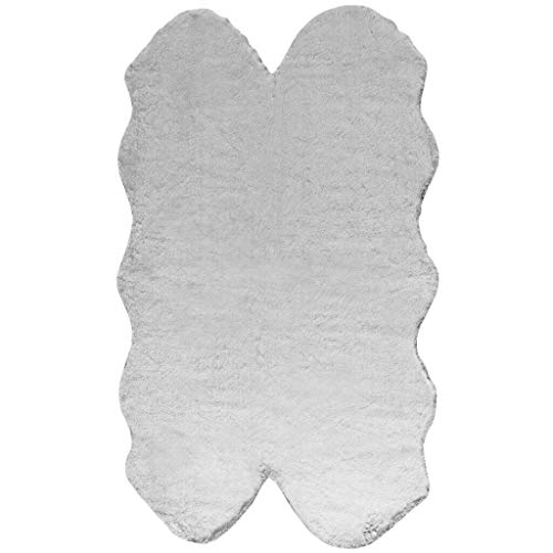 Walk on Me Fake Rabbit Fur Accent Area Rug - Ultra Soft with Faux Suede Backing - Polyester - 3x5 Quad Pelt Short Pile Sheepskin Rug Black/White