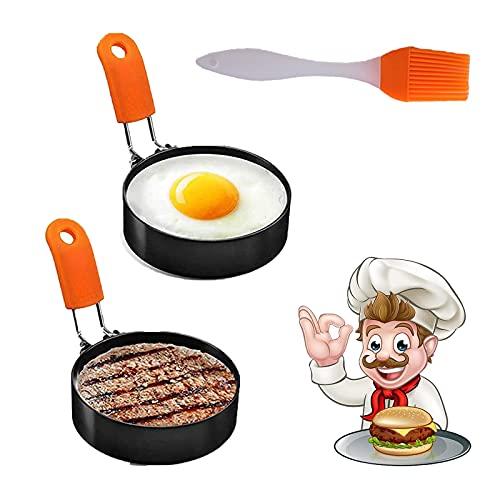 Egg Ring, 2 Pack Stainless Steel Egg Ring Molds with Anti-scald Handle with an Oil Brush Non Stick Metal Shaper Circles for Fried Egg McMuffin Sandwiches,Frying Or Shaping Eggs, Cooking Tool Omelette