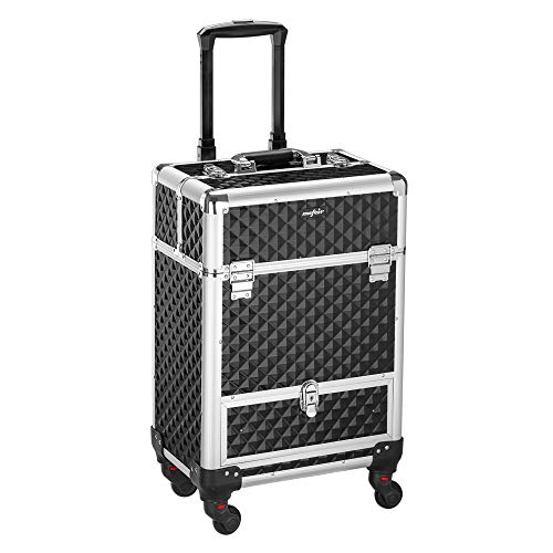 Mefeir Professional Artist Rolling Makeup Case Cosmetic Train Case Lockable Travel Case Trolley with Elgant Diamond Textures, Ideal Xmas New Year Gift (Black)
