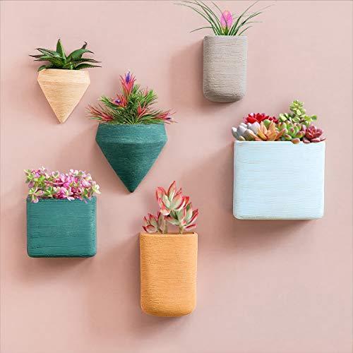 Juego de 6 macetas de resina geométrica para colgar en la pared, macetas de pared coloridas macetas de interior para plantas suculentas, plantas de aire, plantas de imitación - Morandi Home Decor