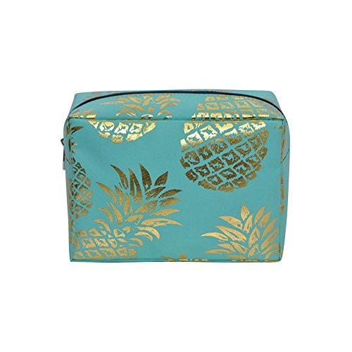 N. Gil Large Travel Cosmetic Pouch Bag 3 (Gold Southern Pineapple Mint Green)