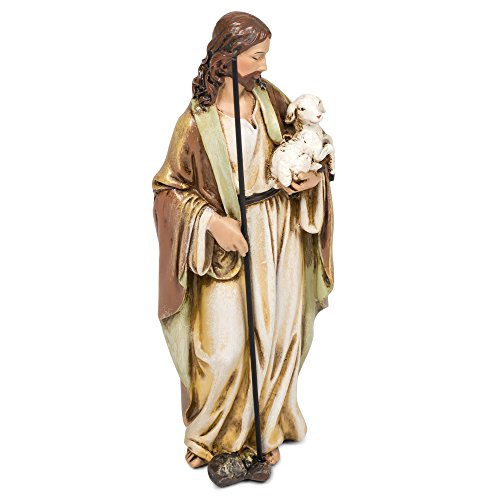Roman Good Shepherd Jesus Christ with Lamb 6 Inch Resin Stone Tabletop Statue Figurine