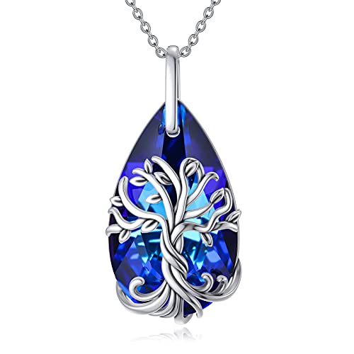 TOUPOP Teardrop Tree of Life Necklace Sterling Silver with Blue Crystal Celtic Family Tree Pendant Jewelry Gifts for Women Girls Mom Lovers Wife Birthday