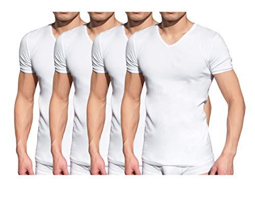 Tutku Herren Unterhemd mit Ärmel Kurzarm V-Ausschnitt,4er Pack Weiß,XL