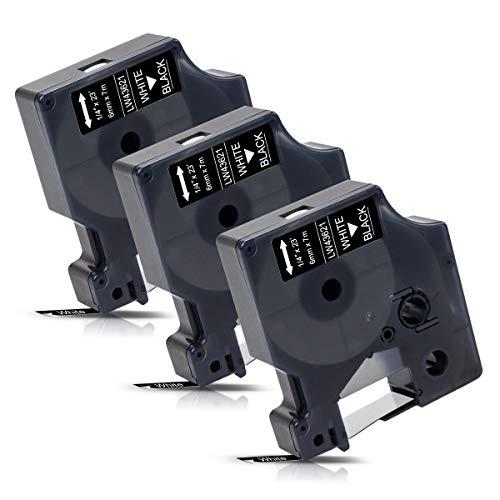 3x Labelwell 6mm Kompatibel Schriftband Ersatz für DYMO 43621 Weiß auf Schwarz für Dymo MobileLabeler 1978243 Labelwriter 450 Duo LabelManager 160 210D 360D 280 420P 500TS Labelpoint 250 150 100