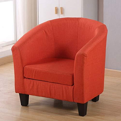 Plhgf Sofá De Un Solo Sofá Lazy Sofa Silla Pequeño Apartamento Dormitorio, Balcón Madera Sólido Cuero Sofá Creativo Café Sofá Lino Gris (Color : Orange)