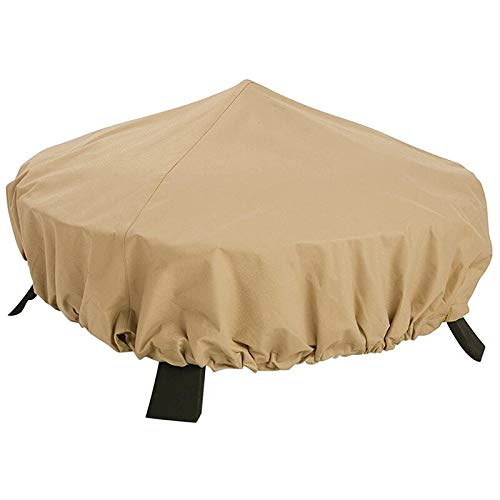 HAILAN Fire Pit Cover Round, Waterproof Heavy Duty Round Patio Fire Bowl Cover for Landmann Big Sky Fire Pit Stone Fire Pit Covers Dust Cover with Drawstring and Storage Bag- Beige (44x11.8inch)