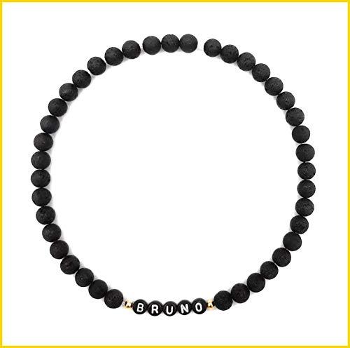 Halsband mit Namen für Hunde und Katzen, Schmuckhalsband mit natürlichen Lavaperlen in verschiedenen Größen, handgemachtes und flexibles Hundehalsband Katzenhalsband