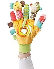Fehn 074604 Safari Speelhandschoen met aap en olifant met rammelaar en piep voor baby's en peuters vanaf 0+ maanden