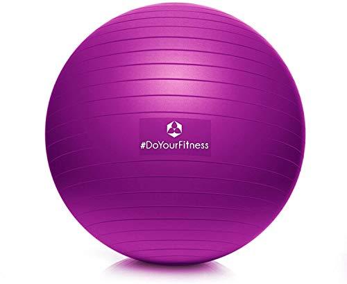 #DoYourFitness® Gymnastikball inkl. & Luftpumpe   55cm 65cm 75cm o. 85cm   100{241adaaf38220c668dc4bbf693cee666b54f22e6e5d8ed6a60db145a791e14d9} Berstsicher - 150kg Belastbarkeit - robuster Sitzball, Bürostuhl, Fitnessball 65cm lila