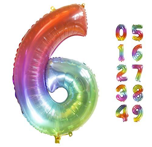 Globo Gigante Multicolor Numero de Cumpleãnos 6 I 101 CM Globo Años I Globo Numero 6 I Decoracion Fiesta Cumpleaños Niños I Globos Numeros Gigantes para Fiestas I Hinchar con helio o aire (Numero 6)