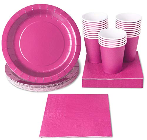 Hot Pink Party Supplies, Paper Plates, Cups, and Napkins (Serves 24, 72 Pieces)
