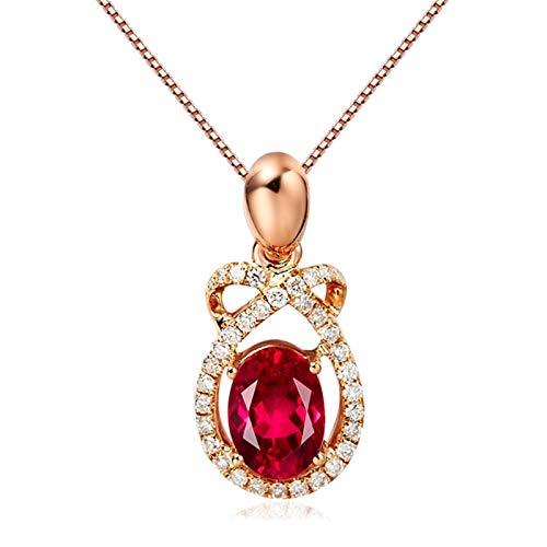 Daesar Collares de Oro Rosa Mujer 18K Infinito Gota de Agua con Turmalina 0.77ct