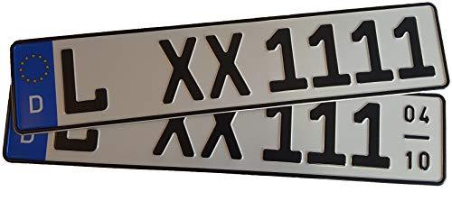 2 Stück KFZ-Kennzeichen EU 520 x 110 mm, reflektierend, Autoschilder mit Wunschkennzeichen