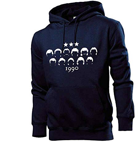 Generisch shirt84.de - Sudadera con capucha para hombre, diseño del mundial de 1990 azul marino S