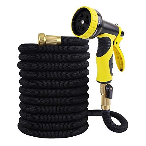 WHOLEV Expandable Garden Hose 50ft, Flexible Lightweight Water Hose With Durable 4-layer Latex Core, Easy Store No Kink Leakproof Expanding Pipe