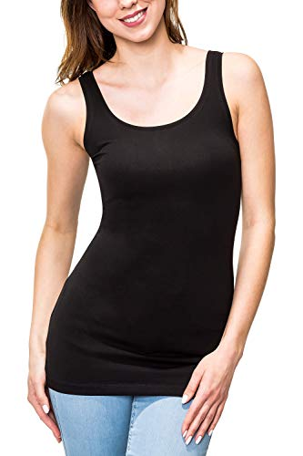 ONLY Damen Tank Top Basic Shirt Stretch O-Neck Print Longtop 15159176 Liva (XL, Black/Solid)