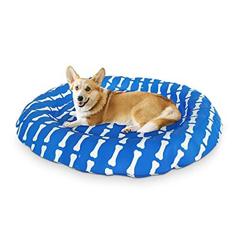 XJD Tappetino refrigerante Cani Gatti Cuccia per Cani per L'Estate Letto per Animali Gel Non Tossico Lavabile Robusto autoraffreddamento Diametro 62 cm(Osso)
