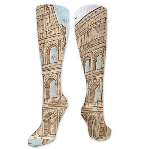 Xuanlin Colosseum Color Hand Draw Persönlichkeit Kniehohe Socken Lustige Neuheit Kleidersocke für Frauen & Männer Mädchen Jungen Reiseschule Party Cosplay, Unisex Kniestrümpfe