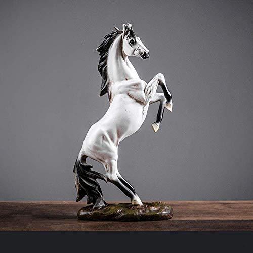 Estatua impresionante jardín ornamento Escultura War Horse estatua ambientalmente amistoso Decoración hogar de la resina Oficina Adornos Dominante Estatua animal de regalo del arte moderno (35 × 16 ×