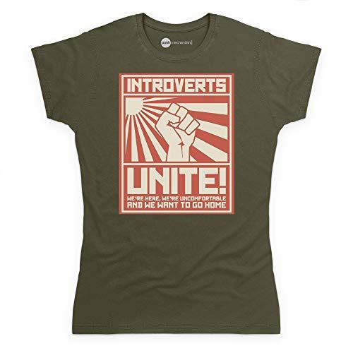 Introverts Unite T-shirt, Donna, Verde oliva, XL