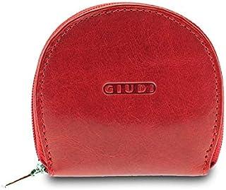 GIUDI ® portafoglio in pelle vacchetta, vera pelle, uomo donna unisex, portamonete in pelle, Made in Italy (Rosso)