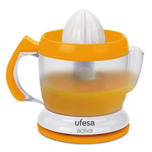 Ufesa EX4939 Activa - Exprimidor eléctrico, 40W, 1L, 2 conos, Giro en ambos sentidos, Palas para arrastrar la pulpa