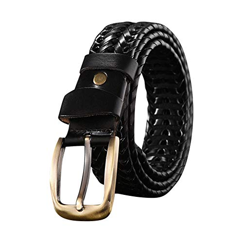 Yudesun Cinturón Trenzado Hombre - Hombres Cuero a Mano Trenzado Cinturones con Metal Alfiler Hebilla para Jeans Pantalones Ajustable Retro