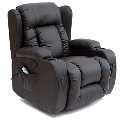 More4Homes CAESAR 10 IN 1 WINGED RECLINER CHAIR ROCKING MASSAGE SWIVEL HEATED GAMING BONDED LEATHER ARMCHAIR (Brown)