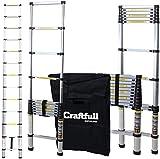 Craftfull Aluminium SOFT CLOSE Teleskopleiter inkl. Tragetasche - in 2/2,6/2,9/3,2/3,8/4,1/4,4 Meter - Mehrzweckleiter - Stehleiter - Aluminiumleiter - Leiter - Schiebeleiter - Aluleiter (2.6 Meter)