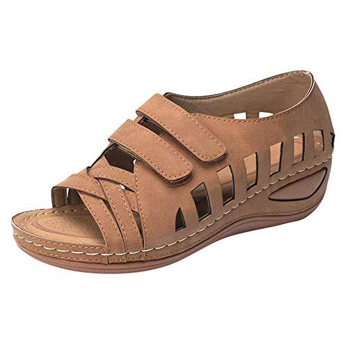 JFFFFWI Sandalias de Verano para Mujer Sandalia de Cuero con Plataforma y cuña Transpirable Ahuecado Zapatos para Caminar Hebilla Correa en el Tobillo Peep Toe Zapatos de Plataforma Plana Comfy, Bro