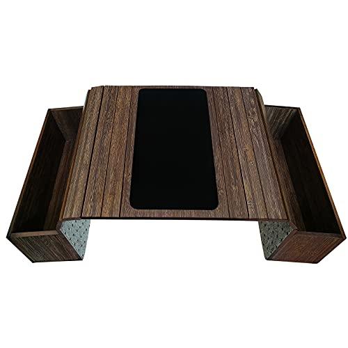 Mesa bandeja sofá con base. Mando a distancia y bolsa de almacenamiento de teléfono móvil de doble cara, bolsa de almacenamiento de reposabrazos de doble cara, mesa de reposabrazos con bolsillos