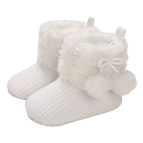 MOFEEDOUKA Baby Boys Girls Boots Soft Warm Fur Snow Winter Infant Toddler Slip On Booties, White ,0-6 Months Infant