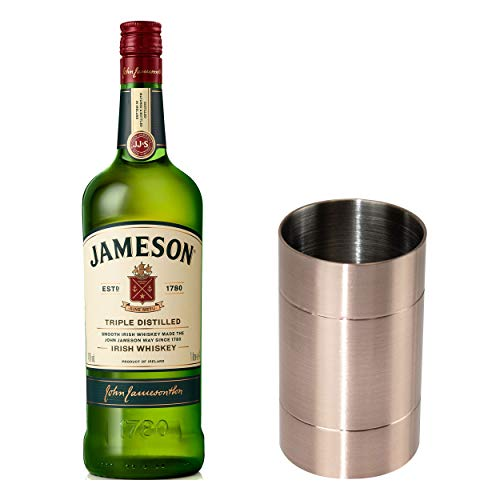 Jameson Irish Whiskey Set mit Jigger, Blended Irish Whisky, Schnaps, Spirituose, Alkohol, Flasche, 40 %, 1 L