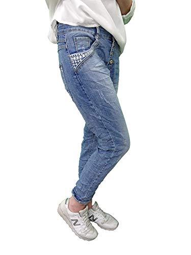 5407 Damen Jeans JEWELLY by LEXXURY Baggy Boyfriend Slimfit Hose Wadenlang