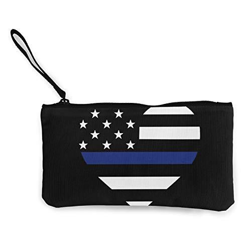 Moneda de lona, fina línea azul de la bandera americana, monedero con cremallera, bolsa de cosméticos de viaje multifunción, bolsa de maquillaje para teléfono móvil, paquete de lápices con asa