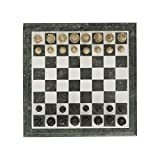 Queenza Chess Set Marble – 12 Inch Natural Green & White Marble Chess Board with Handmade Soap Stone Pieces – Handmade Square Chess Set Table for Kids & Adults