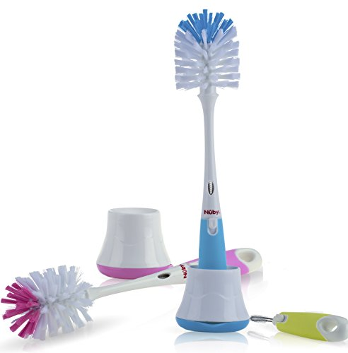 Nuby 2 in 1 Bottle and Nipple Brush with Stand 1pk - Colors May Vary