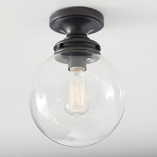Hines Industriel Globe Globe Forme Semi Verre Plafond Lumière Italie Creative Verre Clair Bulle Ronde Lampe Plafond utiliser 1 E27 Ampoule (Size : Diameter 20cm)