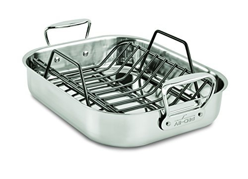 Stainless Steel Dishwasher Safe 11-Inch x 14-Inch Roaster with Nonstick Rack Cookware