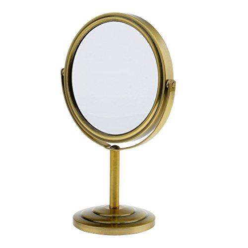 MagiDeal Miroir de Maquillage à Double Face Normale et Grossissante - Miroir de Table Stable et Pivotant à 360 Degré - Bronze