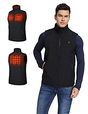 Aoymay Men's Heated Vest 5V USB Washable Heating Jacket Vest Overheat Protection for Fishing Hunting Hiking Camping