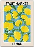 Obstmarkt Kirsche Zitrone Birne Banane Banane Orange Retro