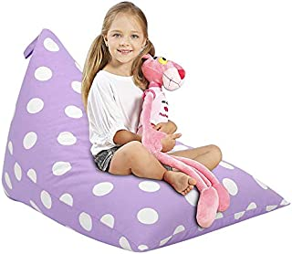 Aubliss Stuffed Animal Storage Bean Bag Chair Cover for Kids, Girls and Adults, Beanbag Cover for Stuffed Animals, 23 Inch Long YKK Zipper, Premium Cotton Canvas, Xmas Gift Ideas(Light Purple dot)