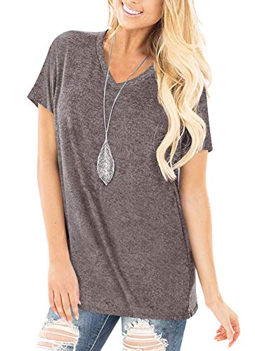 Yidarton Womens Short Sleeve Tops V Neck Summer Casual Basic T Shirts Blouse