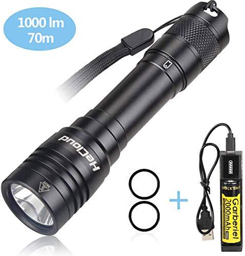 LED Tauchen Taschenlampe Wiederaufladbar, 4 Modi 1000LM Professionelle Unterwasser Taschenlampe, IPX-8 70 Meter Wasserdichte LED Tauchlampe mit 18650 Akku und USB Ladegerät